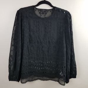 J. Crew Eyelet Mixed Embroidery Draped Top